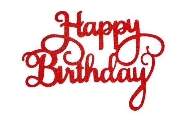 Červený zápich - topper na tortu Happy Birthday 14 cm - Dortmarket