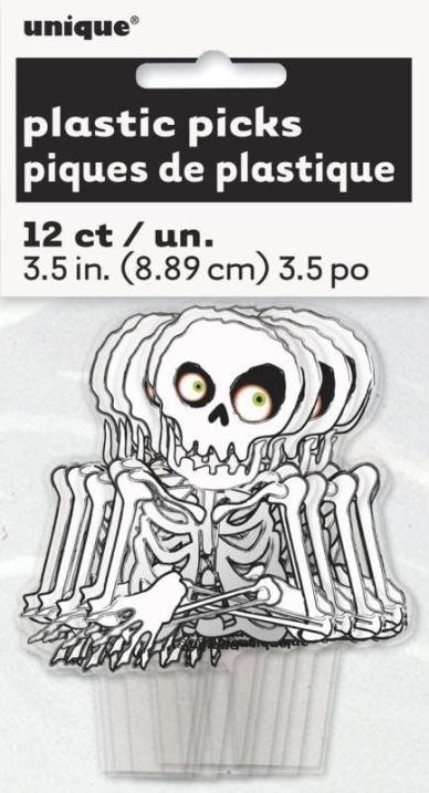Dekorácia na Cupcake a muffiny Kostra 12 ks - Halloween - UNIQUE