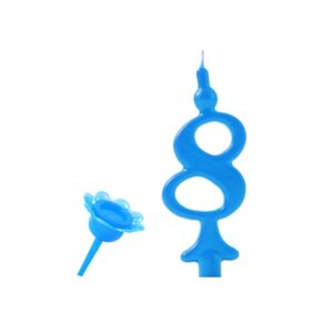 Narodeninová sviečka so zapichovacím stojanom - Číslica modrá 8 - Modecor