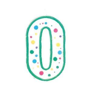 Narodeninová sviečka zeleno-biela číslica 0 - Wilton