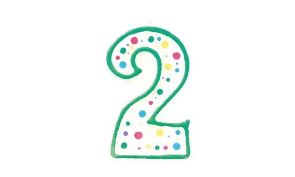 Narodeninová sviečka zeleno-biela číslica 2 - Wilton