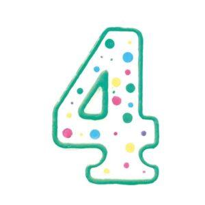 Narodeninová sviečka zeleno-biela číslica 4 - Wilton