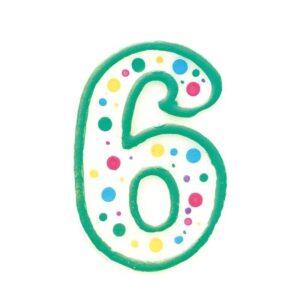 Narodeninová sviečka zeleno-biela číslica 6 - Wilton