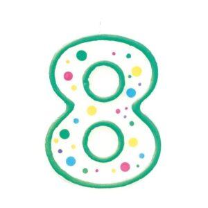 Narodeninová sviečka zeleno-biela číslica 8 - Wilton