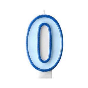 Narozeninová svíčka 0, modrá, 7 cm - PartyDeco