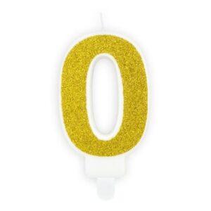 Narozeninová svíčka 0, zlatá, 7 cm - PartyDeco