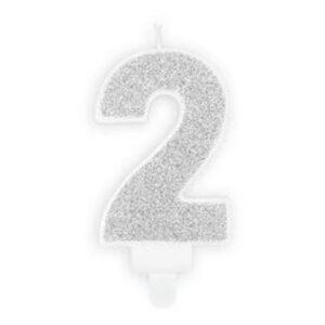 Narozeninová svíčka 2, stříbrná, 7 cm - PartyDeco