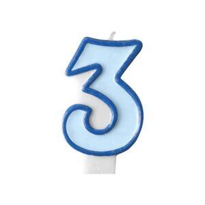 Narozeninová svíčka 3, modrá, 7 cm - PartyDeco
