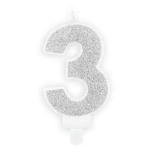 Narozeninová svíčka 3, stříbrná, 7 cm - PartyDeco