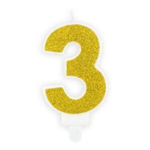 Narozeninová svíčka 3, zlatá, 7cm - PartyDeco