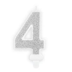 Narozeninová svíčka 4, stříbrná, 7 cm - PartyDeco