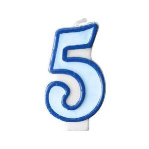 Narozeninová svíčka 5, modrá, 7 cm - PartyDeco