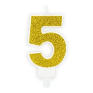 Narozeninová svíčka 5, zlatá, 7cm - PartyDeco