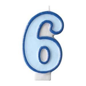 Narozeninová svíčka 6, modrá, 7 cm - PartyDeco