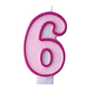 Narozeninová svíčka 6, růžová, 7 cm - PartyDeco