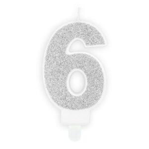 Narozeninová svíčka 6, stříbrná, 7 cm - PartyDeco