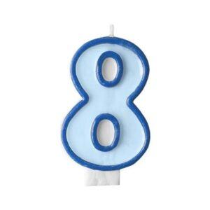 Narozeninová svíčka 8, modrá, 7 cm - PartyDeco