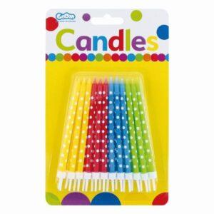 Narozeninové svíčky s puntíky, barevné 24 ks - GoDan