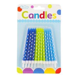 Narozeninové svíčky zeleno-modré s puntíky 24 ks - GoDan