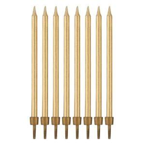 Narozeninové svíčky zlaté s podstavcemi délka - 10 cm - 8 ks - GoDan