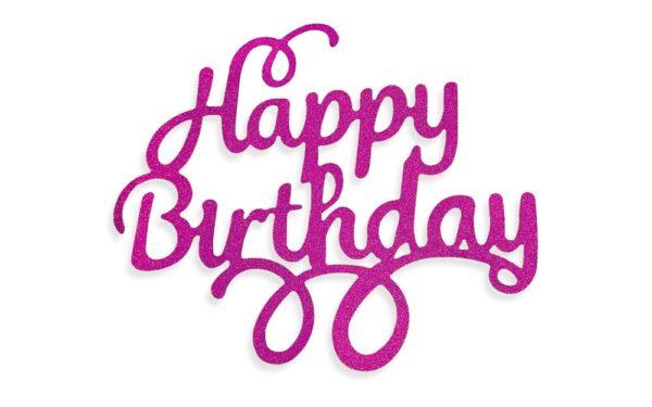 Ružový zápich - topper na tortu Happy Birthday 14 cm - Dortmarket