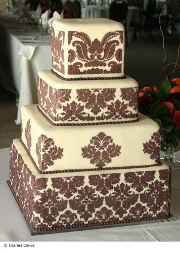 Stencil - Damask Cake sada -