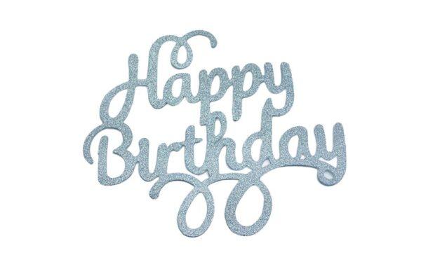 Strieborny zápich - topper na tortu Happy Birthday 14 cm - Dortmarket
