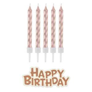 Sviečky s nápisom Happy Birthday, Rosegold - ružovozlaté 16 ks - GoDan