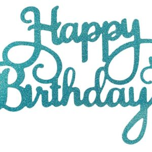 Tyrkysový zápich - topper na tortu Happy Birthday 14 cm - Dortmarket