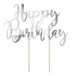 Zápich - dekorácia na tortu Happy Birthday, strieborná 22,5 cm - PartyDeco