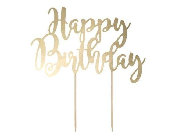 Zápich - dekorácia na tortu Happy Birthday, zlatá 22,5 cm - PartyDeco