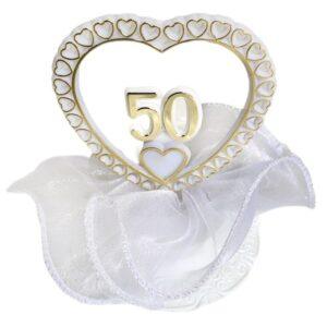 Zlatá svadba - číslo 50 v srdci - svadobné figúrky na tortu - Modecor