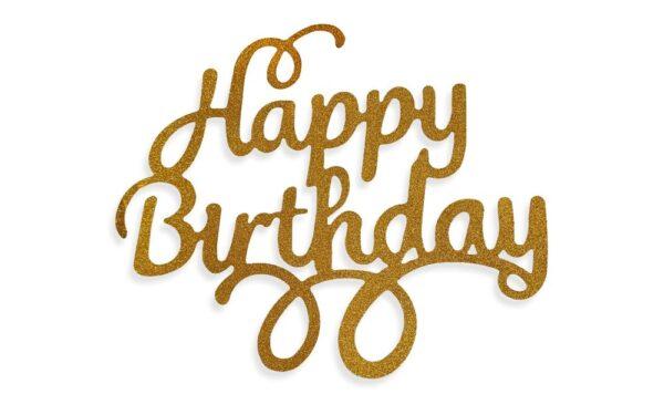 Zlatý zápich - topper na tortu Happy Birthday 14 cm - Dortmarket